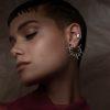 modelo utlizando candongas y orejera Parte de la Colección 6 de Aysha Bilgrami Joyeria, inspirada en molas y mandalas. Imagen de Campaña de Colección No.6  de Aysha Bilgrami Joyeria por Daniella Benedetti