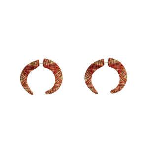 CANDONGAS ROJAS realizadas con la técnica de Pasto, Nariño Enchape en Tamo. Parte de la Colección cápsula de enchape en tamo de Aysha Bilgrami Joyeria