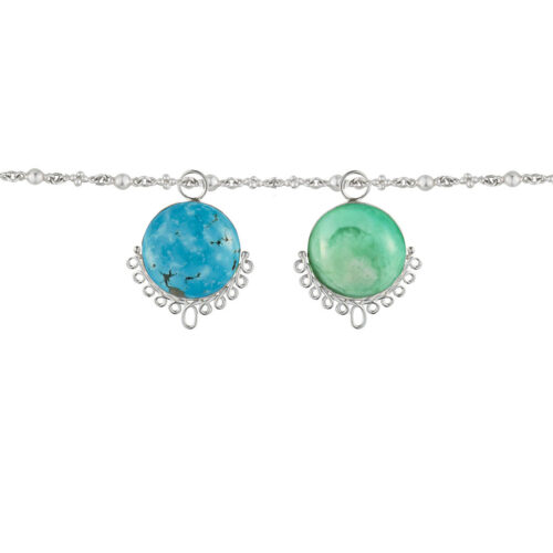 two colorful charms hanging from chain. One with bright green crysophrase and the other with turquoise.