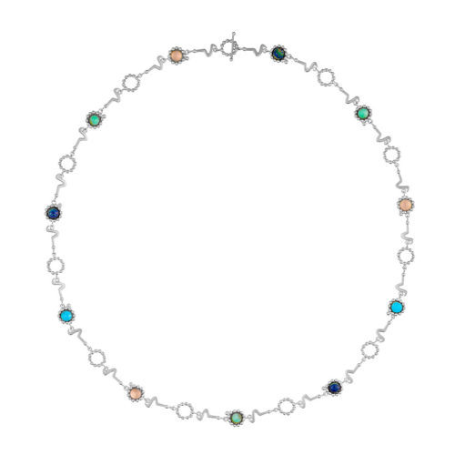 long silver chain with colorful semi precious stones that can be used as layerd bracelet, long chain. double chain or belt.