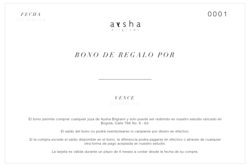IMAGE OF BLACK AND WHITE GIFT CARD WITH TERMS AND CONDITIONS IN SPANISH