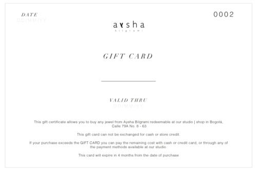 IMAGE OF CLACK AND WHITE GIFT CARD WITH TERMIS AND CONDITIONS